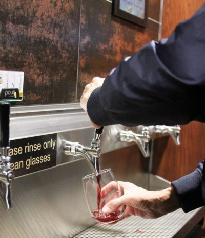 Pouring Wine from a Self-Serve Dispenser at Pickled Monk