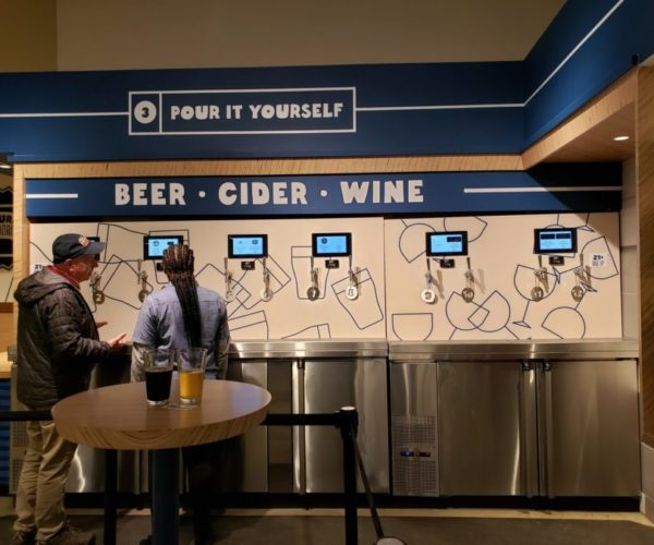 Self-pour wall in Whole Foods