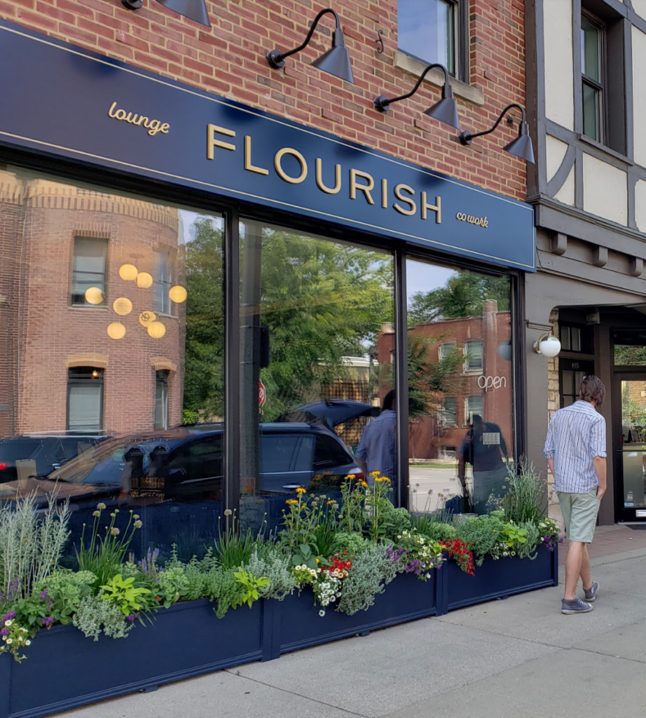 Outdoor view of Flourish -PourMyBeer location in Illinois