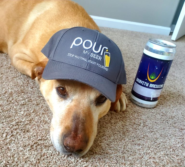 Dog with PourMyBeer Hat and Gravity Brewing Craft Beer