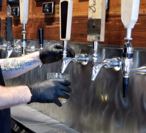 pouring drinks safely with gloves