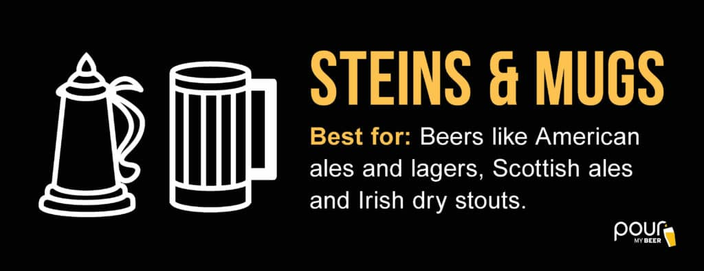 PourMyBeer infographic on stein and mug glasses