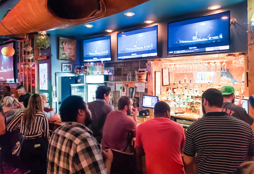 Busy Bar without Social Distancing