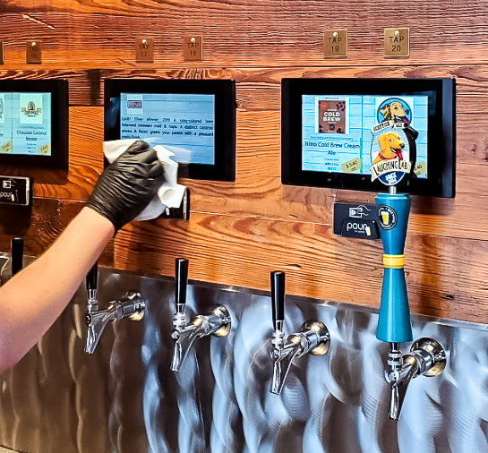 Beer tap system being sanitized and cleaned