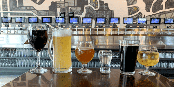 PourMyBeer beverage wall with different kinds of drinks