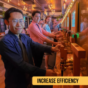 Self-pour Beverage Wall and Increased efficiency