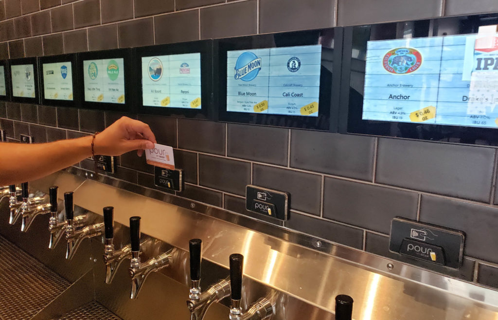 PourMyBeer self-pour beverage wall in hotel
