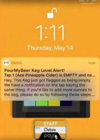 keg level notification on phone