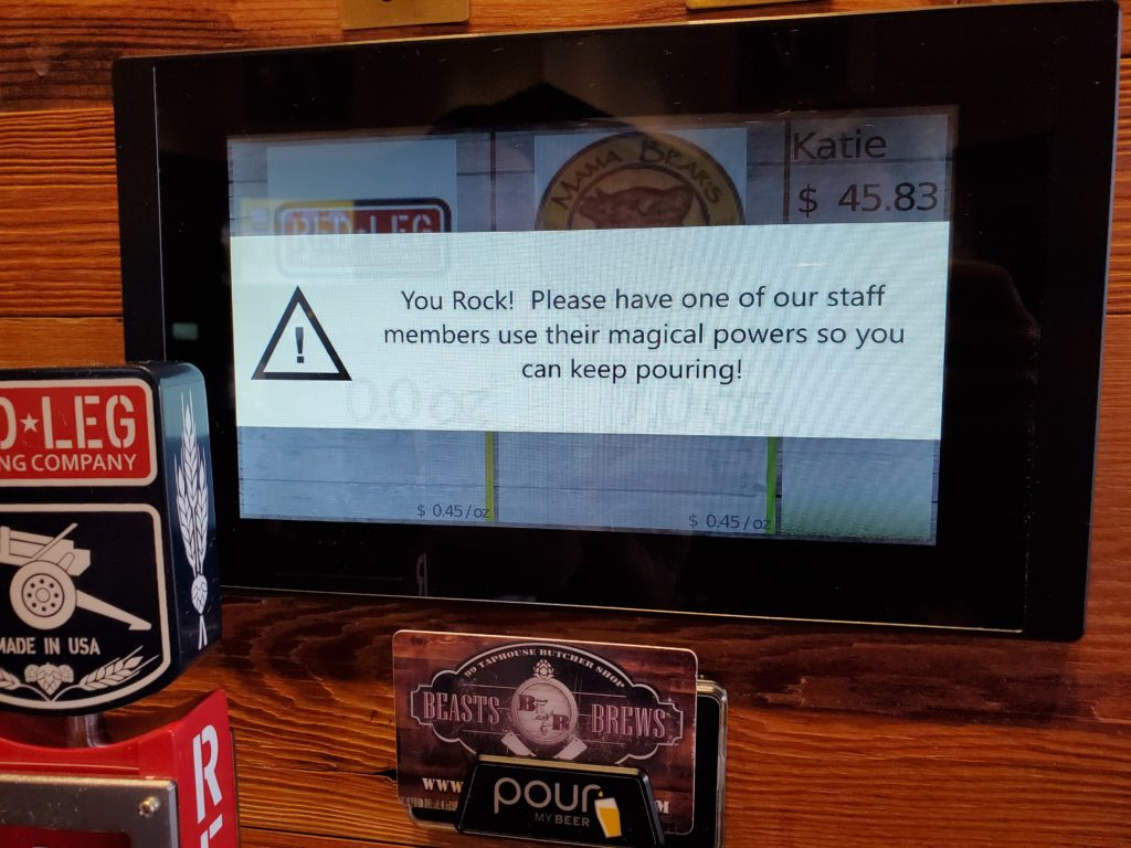 self serve beverage wall refill RFID card