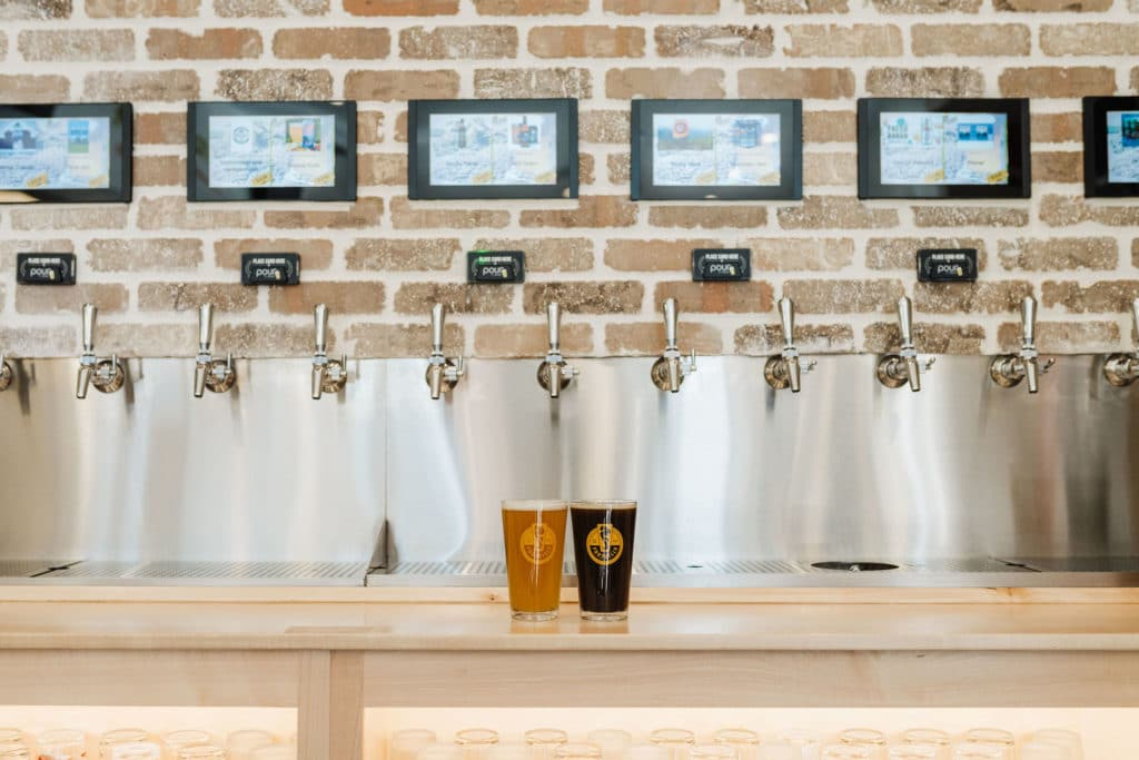 PourMyBeer self-serve beverage wall at Pizza Artista in Greenville