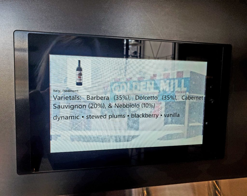 touchscreen showing wine ingredients