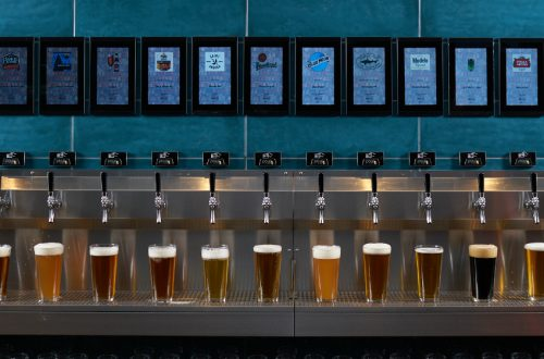 variety of beers under PourMyBeer self-serve taps